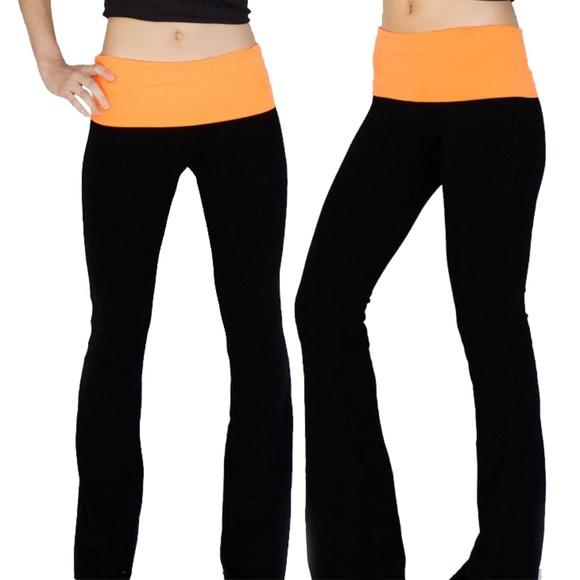 57dbcef0fc Popular Basic Pants - Women's Black/Neon Orange Foldover Yoga Pants.  appleletics